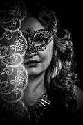 mystery.veiled virgin, spirituality concept. woman with mask posing in studio - stock photo