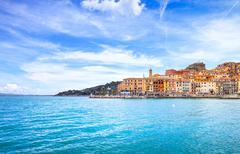 porto santo stefano seafront and village skyline. argentario, tuscany, italy - stock photo