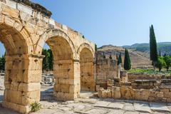 ruins of ancient hierapolis, now pamukkale, turkey - stock photo