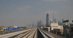 Ultra HD 4K POV Dubai Metro Train Elevated Rail Network System Sheikh Zayed Road Stock Footage