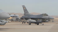 Stock Video Footage of F-18 and F-16 on flight line at Red Flag