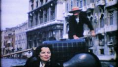 861 - Venice Italy gondola canal tour  - vintage film home movie Stock Footage