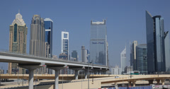 Ultra HD 4K Dubai Skyline Busy City Highway Car Metro Train Passing Rush Hour Stock Footage
