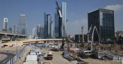 Ultra HD 4K Dubai Skyline Office Building Construction Site Crane Worker Working Stock Footage