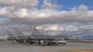 Stock Video Footage of F-16 Fighting Falcon's on the flight line at Red Flag