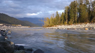 Stock Video Footage of Alaskan River Evening CLoudy Late Summer Low Angle