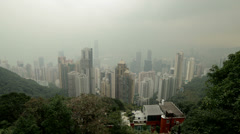 HD video of Hong Kong island and harbour from Victoria Peak Stock Footage
