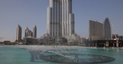 Dancing Water Fountain Artificial Lake Dubai World Largest People Shopping Mall Stock Footage