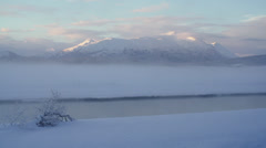 Alaskan Winter Chilkat Misty River Scenic Time Lapse Foggy Mountains Stock Footage