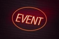 Event neon sign on a club Stock Illustration