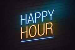 happy hour neon sign - stock illustration