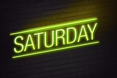 Yellow neon sign with saturday text on wall Stock Illustration
