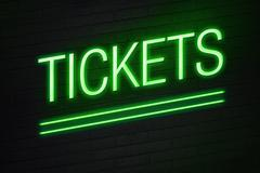Tickets neon sign on wall Stock Illustration