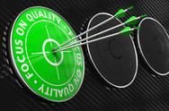 Stock Illustration of Focus on Quality Slogan - Green Target.