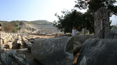 Tourist visiting ruins ancient Ephesus Stock Footage