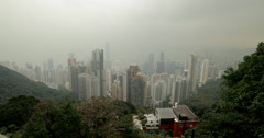 4K video of Hong Kong island and harbour from Victoria Peak Stock Footage