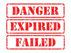 Danger, Expired, Failed- Red Rubber Stamps. - stock illustration