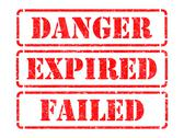 Stock Illustration of Danger, Expired, Failed- Red Rubber Stamps.