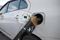 white cars are fuel filler. - stock photo