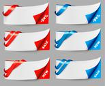 Stock Illustration of red and blue sale banners with ribbons. vector.