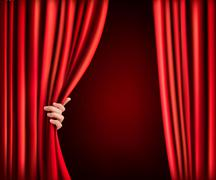 Stock Illustration of background with red velvet curtain and hand. vector illustration