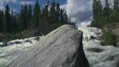 Otter Falls Yukon Canada Jib Up Reveal Past Granite Boulder Stock Footage
