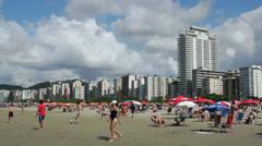 Tourists enjoying a sunny day at Santos Beach, Sao Paulo, Brazil. 22 - stock footage