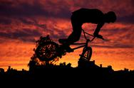 Stock Photo of silhouette of mountain bike