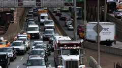 Traffic getting on and off the bridge Stock Footage