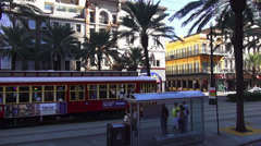 New Orleans old trolley car on Canal Street tramway Stock Footage