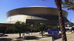Stock Video Footage of New Orleans Mercedes Benz Superdome - no property release!