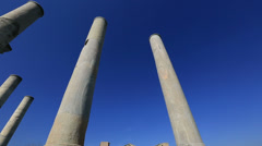 Ruins columns and Gymnasium tilt shoot Stock Footage