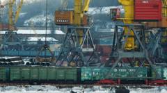 Unloading coal at the trading port Stock Footage