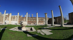 Ruins main hall and columns in Synagogue Stock Footage