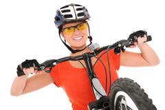 Happy cyclist Stock Photos
