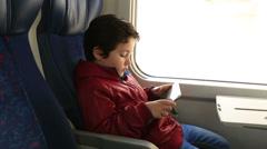 Cute kid boy with digital tablet Stock Footage