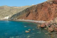 Stock Photo of the red beach on santorini island, greece