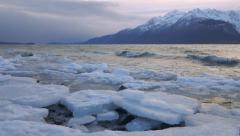 Chilkat Winter Broken Ice Chunks Shoreline Waves Stock Footage