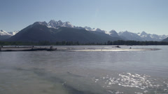 Chilkat River Alaska Summertime Pan Downstream Cloudless Sky Stock Footage