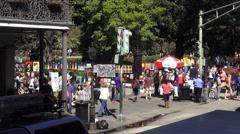 Art sidewalk sale at Decatur Street New Orleans - stock footage