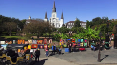 Art sidewalk sale at Decatur Street New Orleans Stock Footage