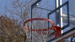 Basketball Shot Going into Hoop Stock Footage