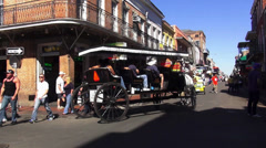 New Orleans French Quarter horse drawn cab - stock footage