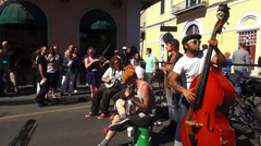 New Orleans French Quarter street musicians Stock Footage