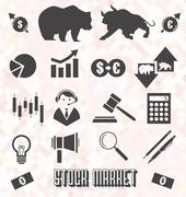 Stock Market Icons and Symbols Stock Illustration