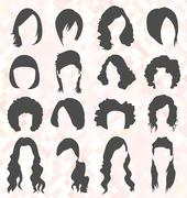 Womens Hair Style Silhouettes - stock illustration