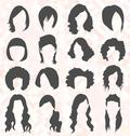 Stock Illustration of Womens Hair Style Silhouettes