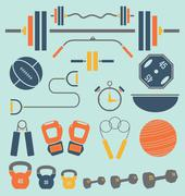 Gym Equipment Icons and Symbols - stock illustration