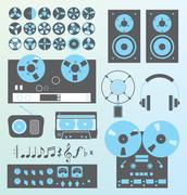 Retro Recording Equipment - stock illustration