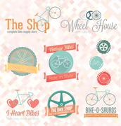 Cycling Labels and Icons Stock Illustration